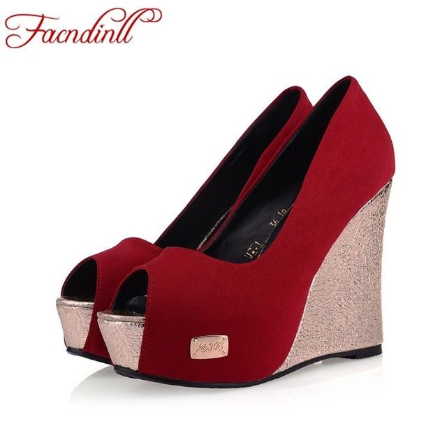 new 2016 women's fashion pumps high heels shoes woman black red platform pumps sexy peep toe pumps wedge shoes wedding shoes