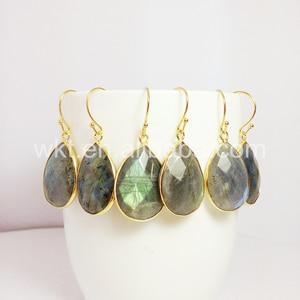 Image 3 - תכשיטים לנשים עגילי ברדורייט הטבעי ברדוריט WT E236 קסם פיאות teardrop אבן טבעי צבעים מתנה יפה