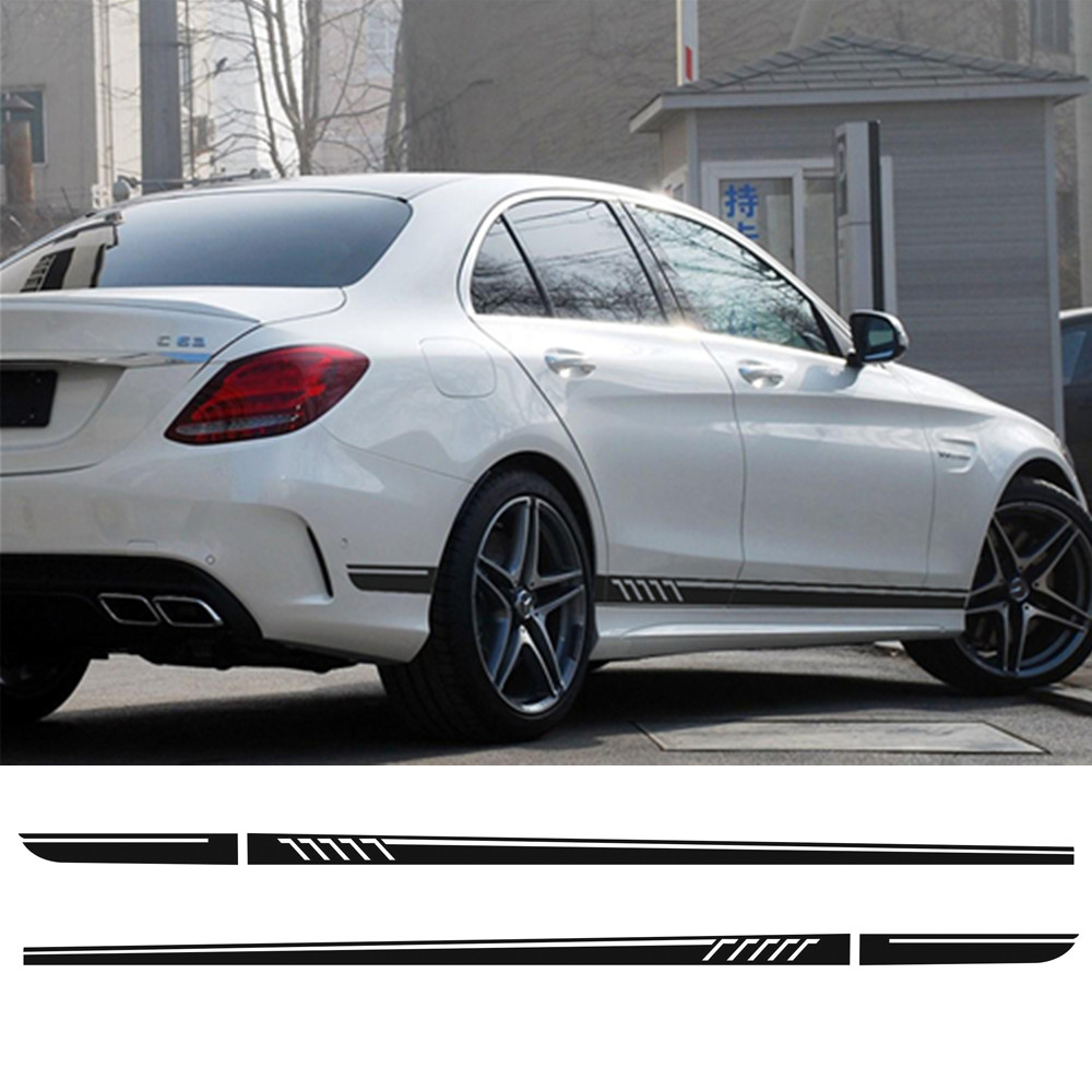 Car Styling Side Skirt Racing Stripe Decal Stickers for Mercedes Benz C Class W204 C1800 C200 C300 C320 C350 C63 AMG Edition 507 w204 c180 c200 c260 c300 carbon fiber car rear trunk lip spoiler wing for mercedes benz w204 c63 4 door 2008 2013 amg style