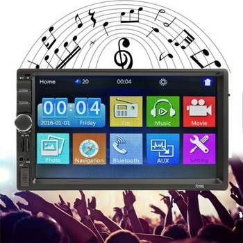 7018G 2 Din Car FM Radio Multimedia Player GPS Navigation 7″ HD Touch Screen Bluetooth MP5 Audio Stereo Player Support AUX