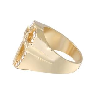 Image 3 - Fashion Crystal Gold Tone Knights Cross Finger Ring For Women Men Prayer Christian Jesus Band Biker Rock Hip hop Wedding Jewelry