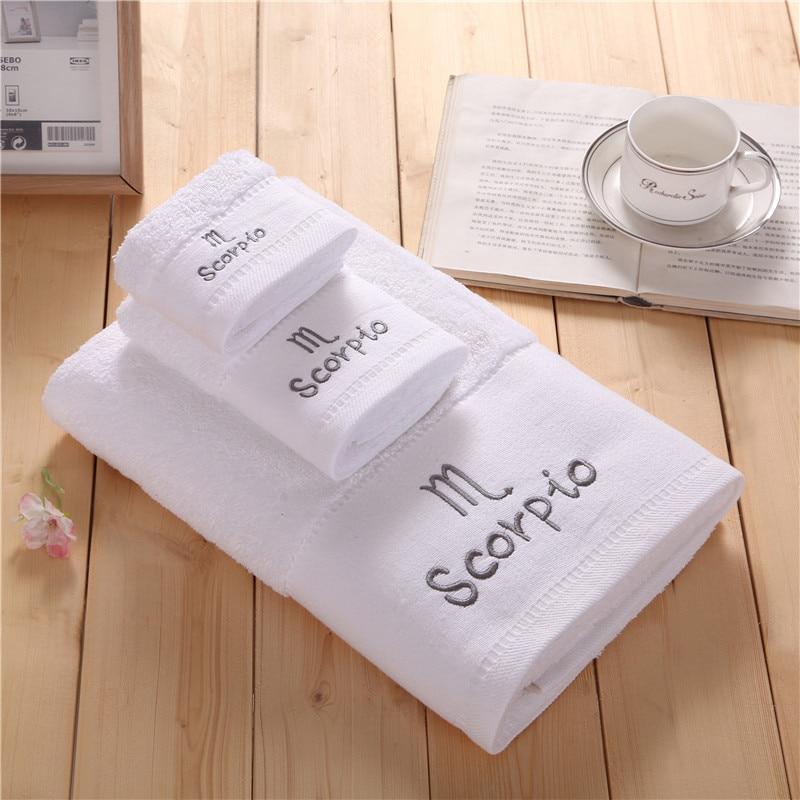 Zodiac Scorpio Monogrammed Embroidery Bath Towel Set 100