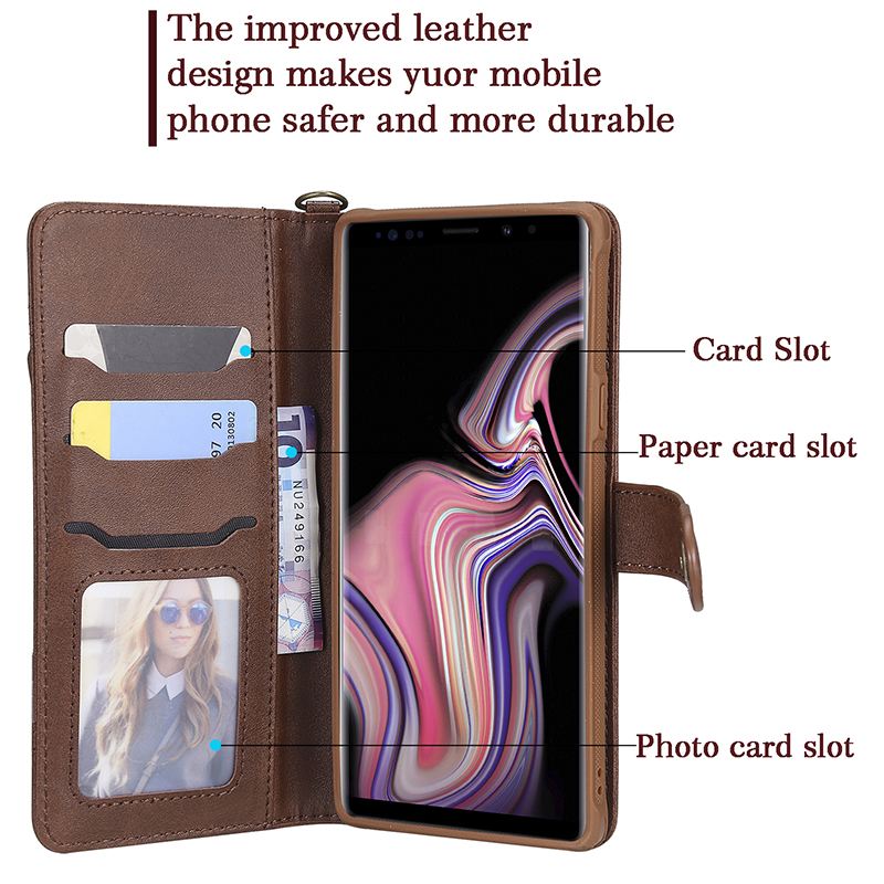 Suntaiho Retro 2 in 1 PU Leather wallet Case for Samsung galaxy note9 case note8 galaxy s9 plus s8 plus Card Slot Holder Cover