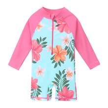 BAOHULU Cyan Floral Baby Toddler Girls Swimwear Sun Protection Swimsuit Kids Infant Bathing Clothes Girl Rash Guards One Piece