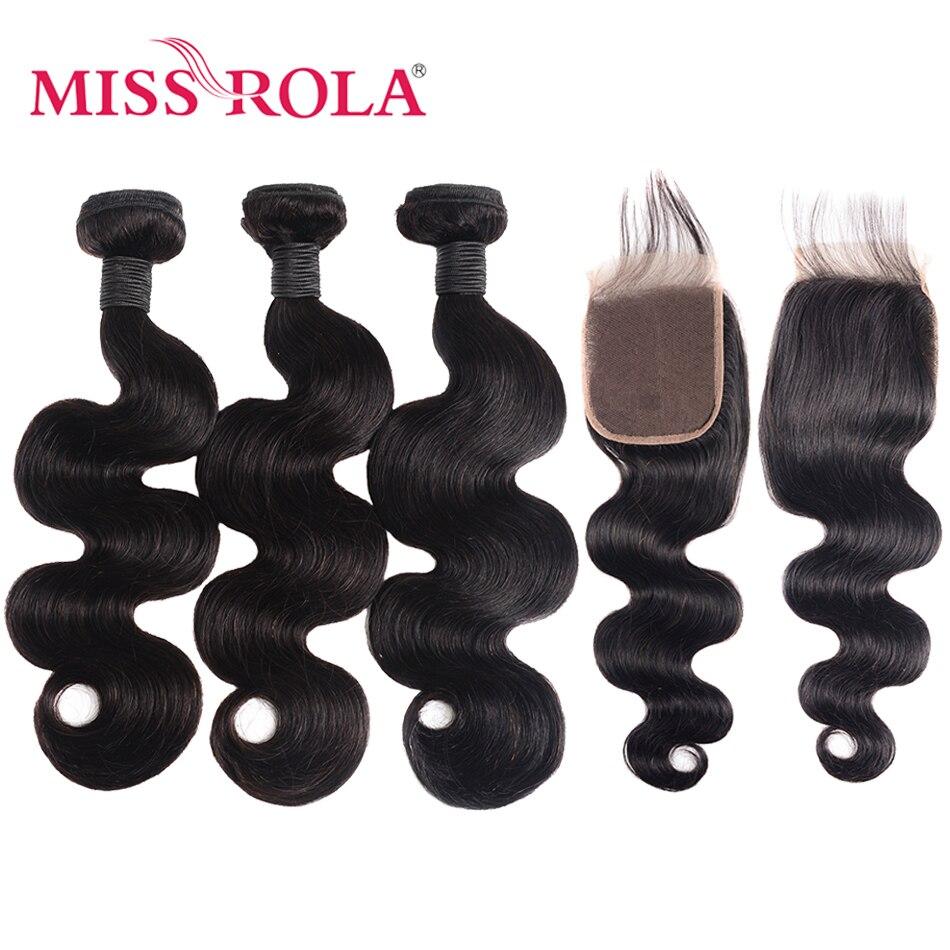 Miss Rola, волнистые перуанские волосы, пряди с закрытием, 100% человеческие волосы, натуральный цвет, не Реми, волосы для наращивания 8-26 дюймов