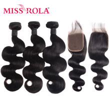 Miss Rola Hair Body Wave Peruvian Hair Bundles with Closure 100% Human Hair Natural Color Non-Remy Hair Extensions 8-26 Inch(China)