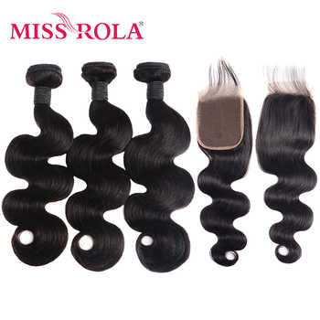 Miss Rola Hair Body Wave Peruvian Hair Bundles with Closure 100% Human Hair Natural Color Non-Remy Hair Extensions 8-26 Inch - DISCOUNT ITEM  55% OFF All Category