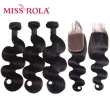 Miss Rola Hair mechones de cabello peruano ondulado con cierre, 100% cabello humano de Color Natural, extensiones de cabello no Remy de 8 26 pulgadas