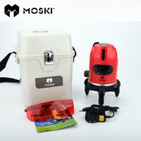 MOSKI ,5 laser lines 6 points laser level,work with power bank,360 degrees rotary tilt slash available auto line laser level