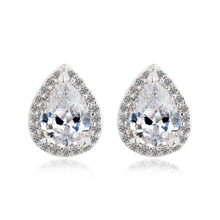 European Stylish Earrings Teardrop Shape Water Drop Design Pear Cut Aaa Cz Cubic Zirconia For Women In Stud From Jewelry Accessories On