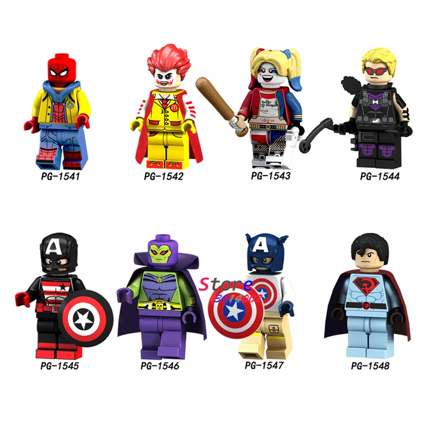 Single Spiderman Captain Soviet America McDonald's Joker Harley Hawkeye Drax Action Figures building blocks toys for children building soviet citizens with american tools