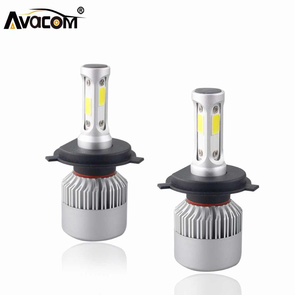 S2 12V H4 H7 LED Car Headlight Bulb COB H11 H1 H13 H3 9004 9005 9006 9007 9012 Hi-Lo Beam 72W 8000LM 6500K IP65 Auto Headlamp