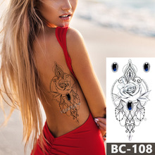 1 Sheet Chest Body Tattoo Temporary Waterproof Jewelry Dark sapphire rose lace pattern Decal Waist Art Sticker for Women