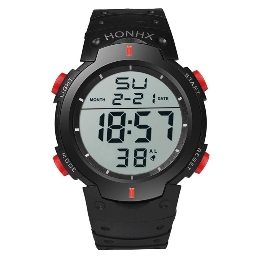 HF 2018Fashion Waterproof Men's Boy LCD Digital Stopwatch Date Rubber Sport Wrist Watch Levert Dropshipa Box F825 1