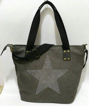BIG STAR STUDDED GLITTER CANVAS HANDBAG - Multifunctional Travel Tote Shoulder Bag 1