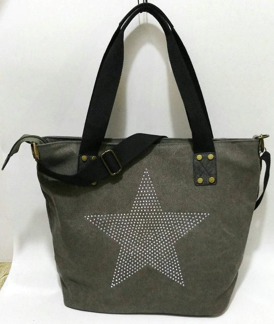 BIG STAR STUDDED GLITTER CANVAS HANDBAG - Multifunctional Travel Tote Shoulder Bag 1