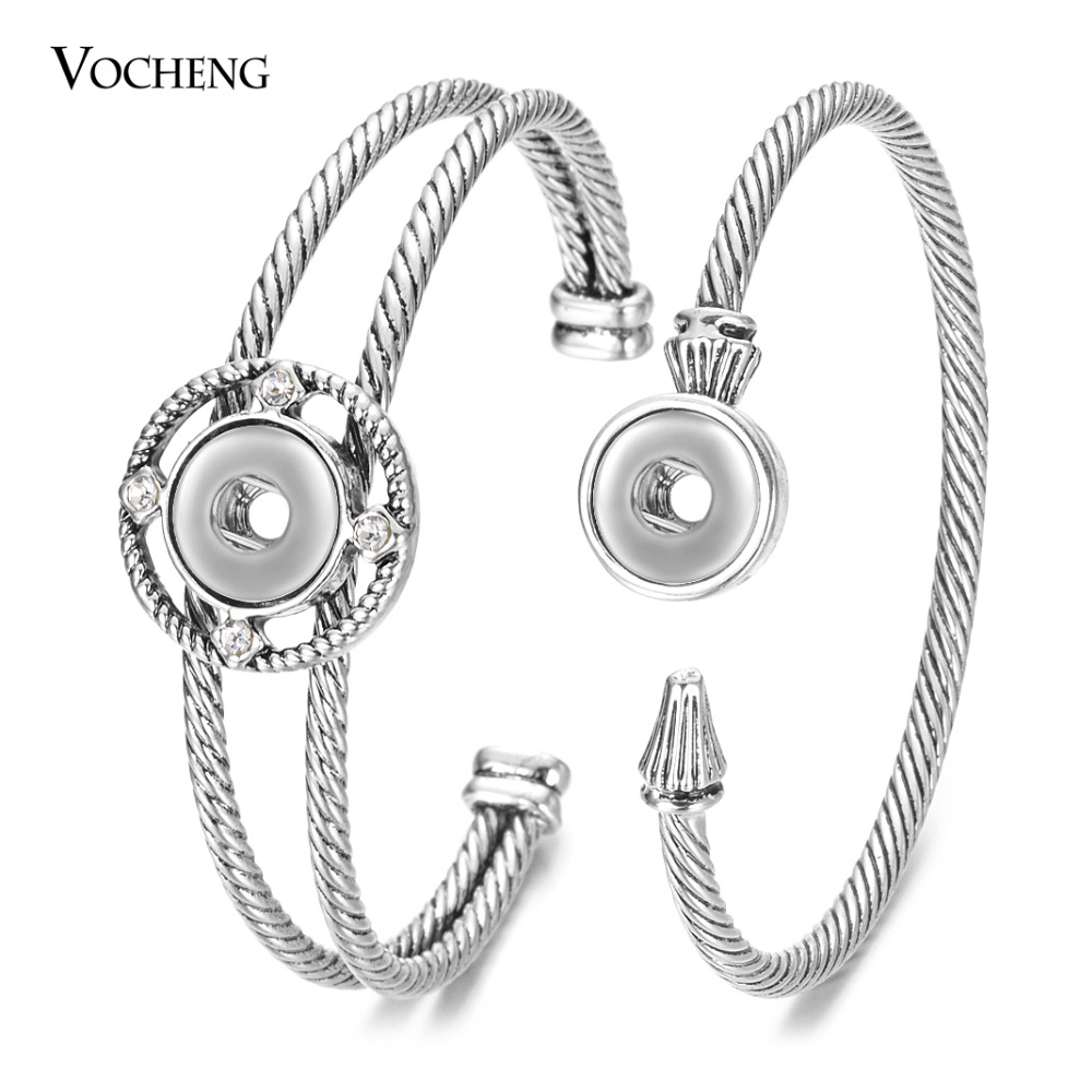 Vocheng 2 Styles Retro Copper Ginger Snap Bangle for Women with Luxury Rhinestone 12mm Petite Button Bracelets Jewelry NN-735 image