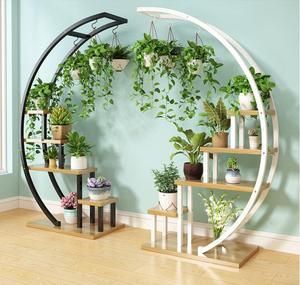Nuevo tipo de estante de flores para el hogar para sala de estar, estante de decoración para balcón, estante de hierro para macetas de Interior de varios niveles a precio especial