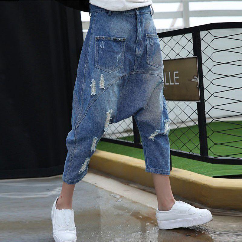 Women Baggy Denim Harem pants Do Old Style Low drop Crotch   Jeans   Hip Hop street dance American Trousers Plus Size Joggers 1666