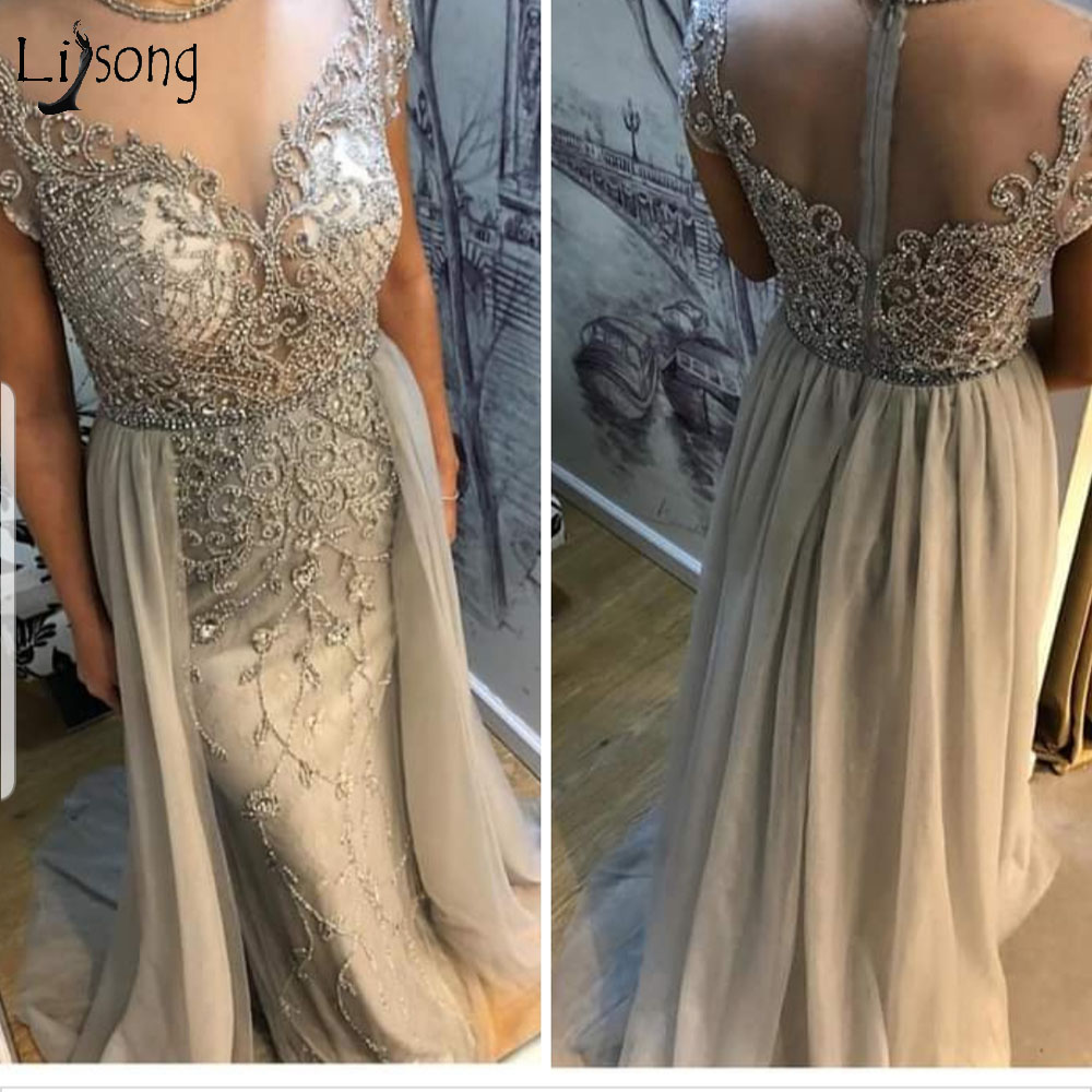 Luxury Gray Beaded Mermaid   Prom     Dresses   With Over-Skirt Long Crystal   Prom   Gowns Sexy Illusion Back Party   Dress   Robe De Soiree