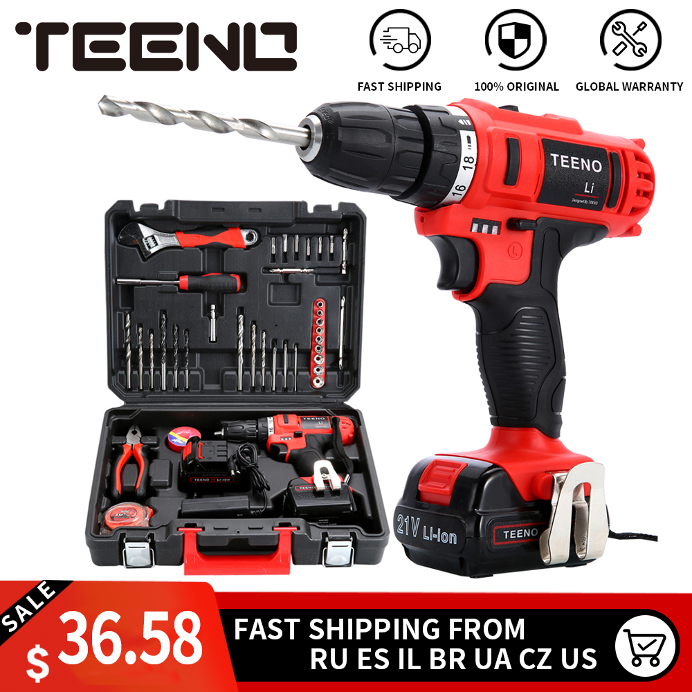 TEENO 3/8 Electric Screwdriver Cordless Drill Power Driver 21-Volt DC Lithium-Ion Battery 40N.m two-SpeedsTEENO 3/8 Electric Screwdriver Cordless Drill Power Driver 21-Volt DC Lithium-Ion Battery 40N.m two-Speeds