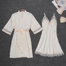 Bata de noche Sexy para mujer, Conjunto de pijama con tirantes, conjunto de pijama de dos piezas, ropa de dormir informal para el hogar, Kimono para dormir, bata de baño