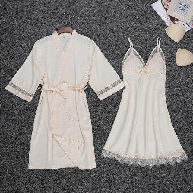 섹시한 여자 나이트 가운 스트랩 탑 잠옷 정장 여름 두 Piec 잠옷 세트 캐주얼 홈웨어 Nightwear 수면 기모노 목욕 가운