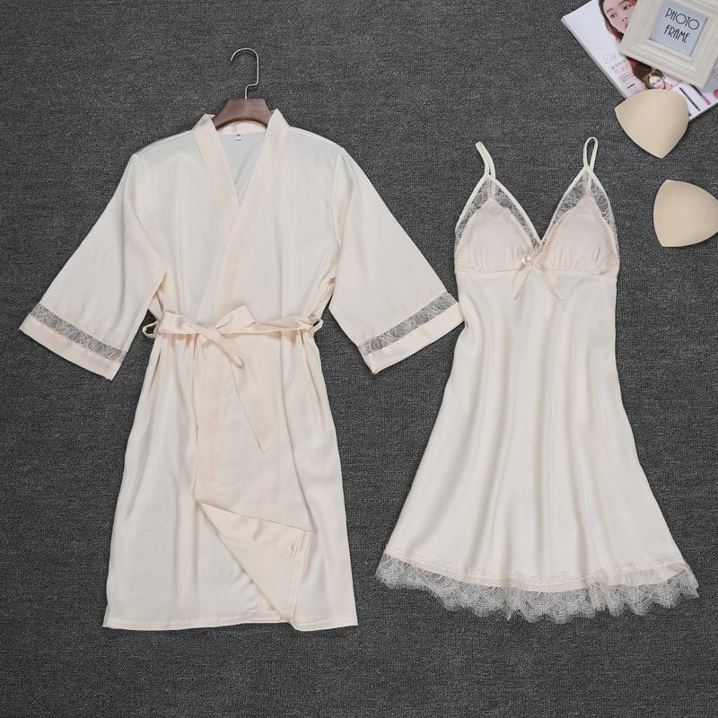 Sexy Womens Night Robe Strap Top Pajamas Suit Summer Two Piec Sleepwear Sets Casual Home Wear Nightwear Sleep Kimono Bath Gown-in Robe & Gown Sets from Underwear & Sleepwears