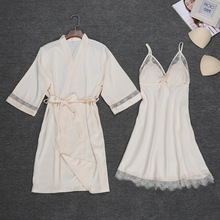 Sexy Womens Night Robe Strap Top Pajamas Suit Summer Two Piec Sleepwear Sets Casual Home Wear Nightwear Sleep Kimono Bath Gown