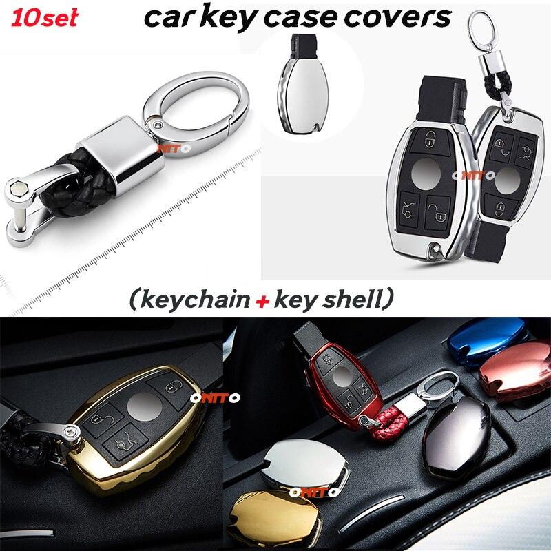 10set Car Key Case Shell + Key Chain soft silica gelfor for Mercedes Benz A B C E M RL GLK GLA ML CLK CLA CL CLS car accseeories