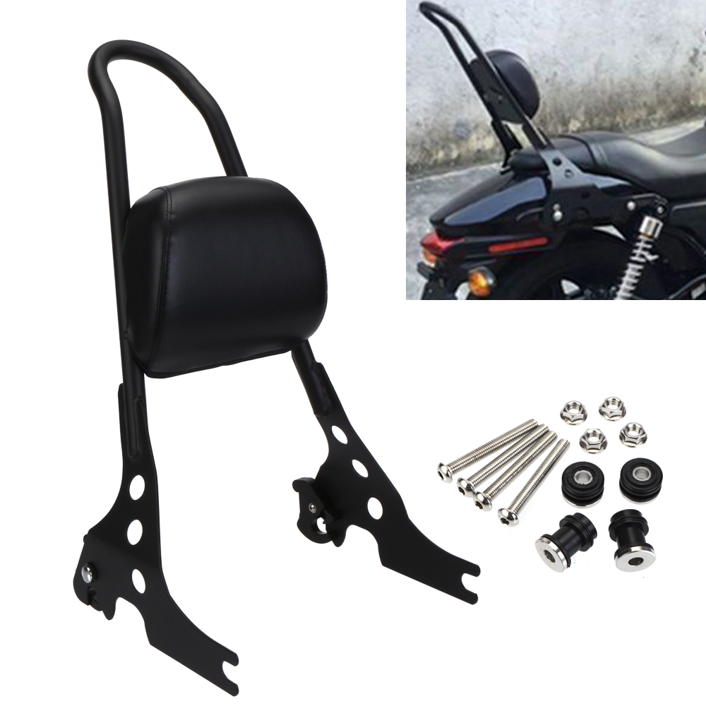 Neverland Motorcycle Passenger Backrest Pad Black Silver Sissy Bar Cushion For Harley Iron Sportster XL1200 883
