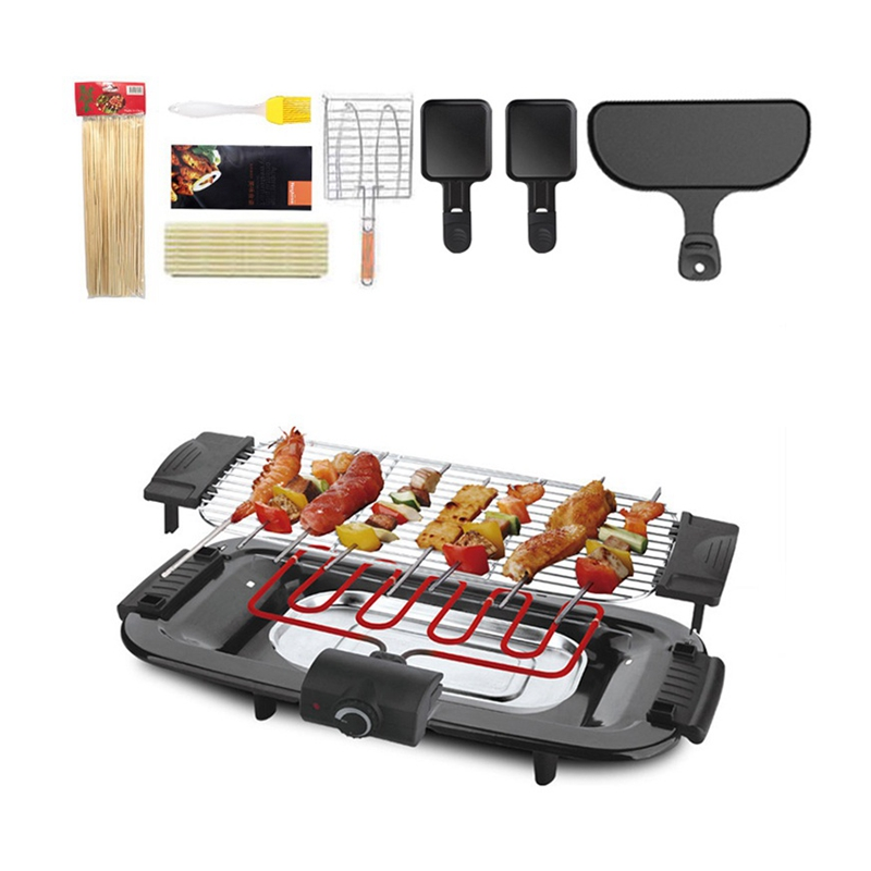 DMWD 2000W Electric Barbecue Oven 220V Smokeless BBQ Grill With Oill Brush Skewer Baking Pans For Party 4-6 People