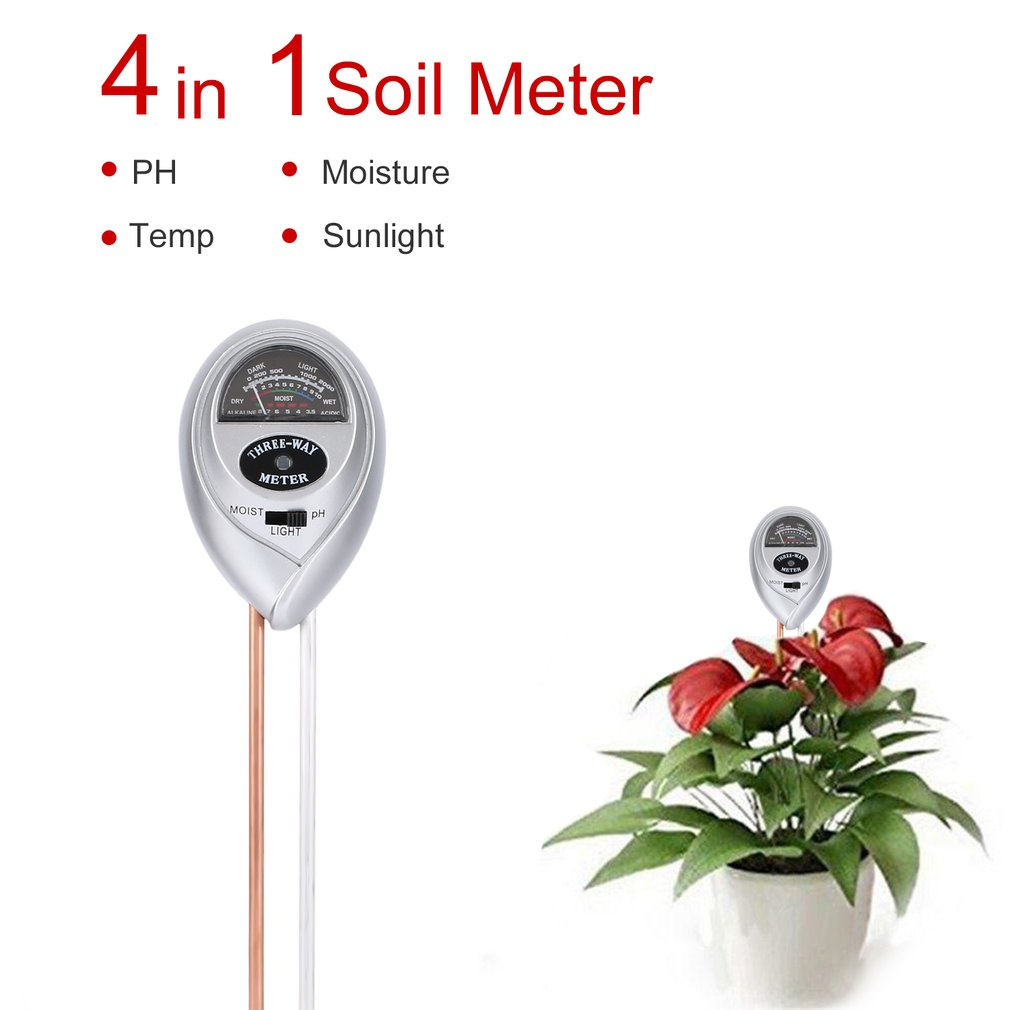 3 In 1 Soil Hygrometer Soil Thermometer Ph Meter Moisture Meter And Sun Light Probe Multi-functional Soil Hygrometer