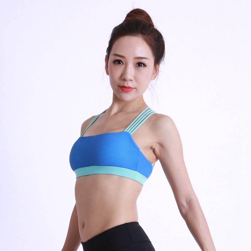 2018 Female Yoga Bra Women Sports Bra Push Up Active Wear Tops For Women Gym Blue Brassiere Sport Bra Criss Cross Crop Top in Sports Bras from Sports Entertainment