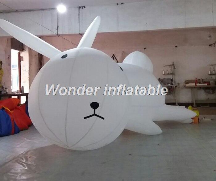 Подгонянный 3 mLong гигантский лежа белый надувной кролик мультфильм для пасхальное украшение