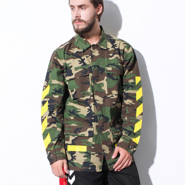 High Quality Mens OFF-WHITE  Camouflage Jackets Male Cotton OFF WHITE Rose Embroidery Fashion Camo OW Jacket And Coats S-XL