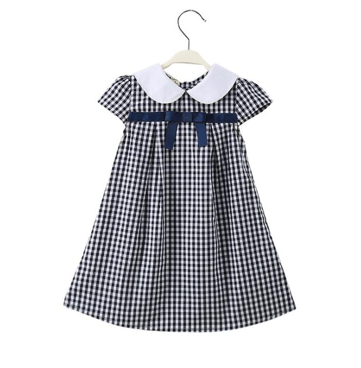 Children's wear Europe and the United States 2019 summer new girls plaid dress children's doll collar bow princess dress