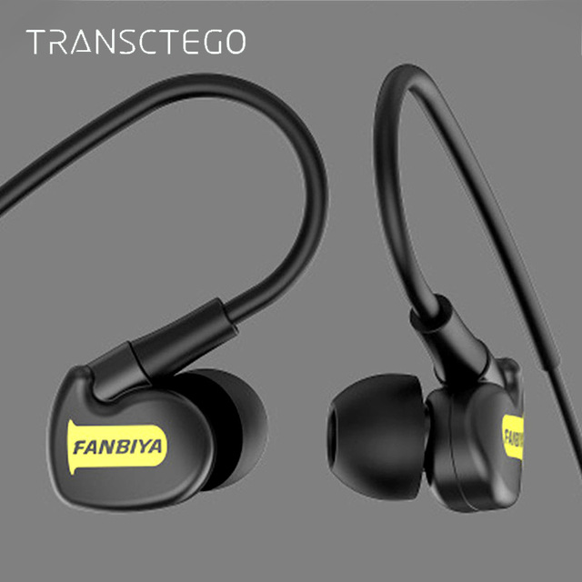 TRANSCTEGO sport wired Earphone running headphones sports universal wired earphones with mic 3.5mm jack standard stereo headset