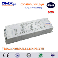 DHL Free shipping 40pcs 60W LED TRIAC Dimming Driver Constant Voltage Dimmable power supply use for LED Lighting