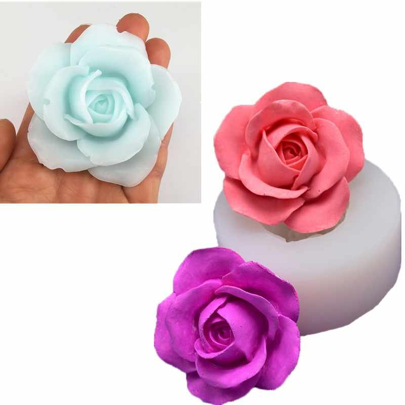 3D Rose Shape Fondant Soap Cake Molds Silicone Candle Crafts Pastry Making Tools