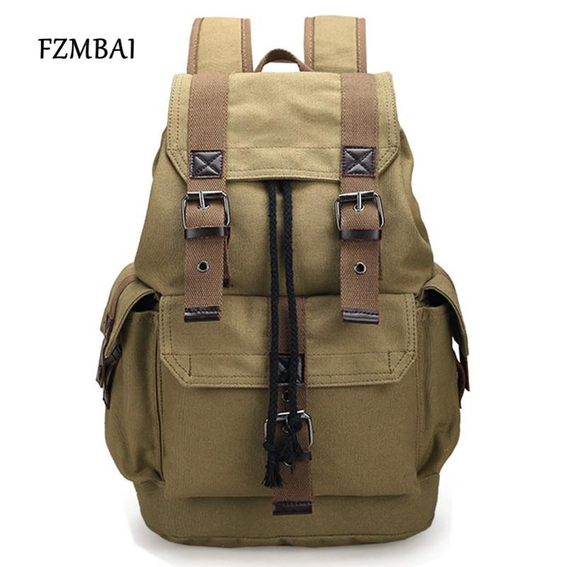 FZMBAI Mens Vintage Large Capacity Rucksacks Casual Khaki Travel Backpacks School Student Gift