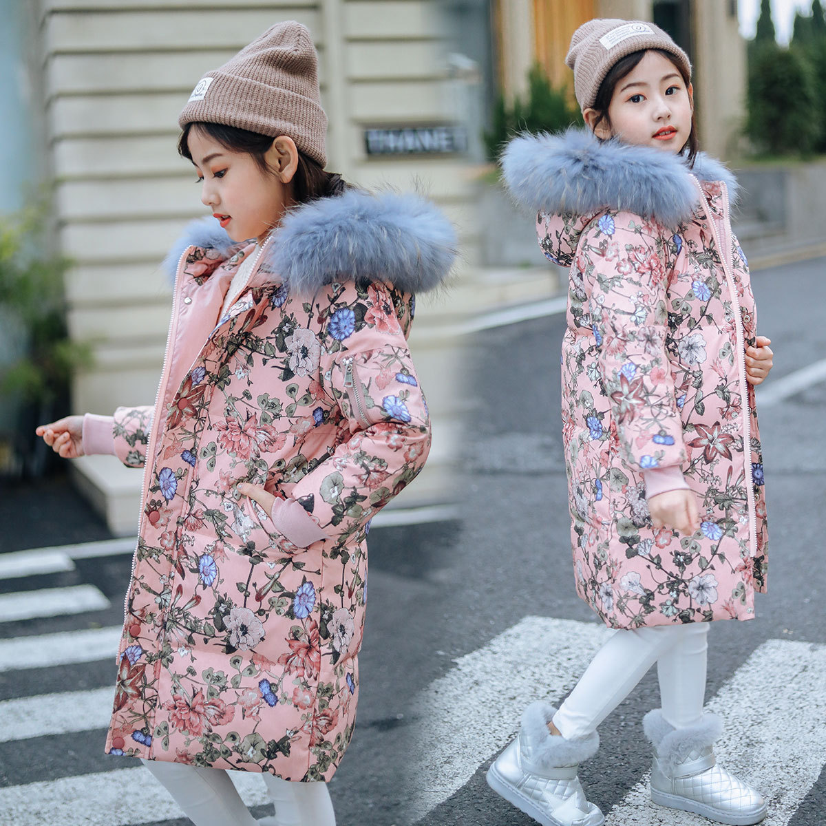 Children Jacket for Girls 2019 New Fashion Flower Print Mid-length Winter Jacket Big Girls White Duck Down Coat with Fur Collar