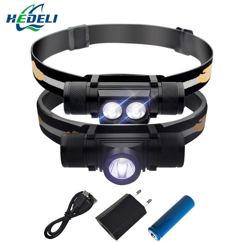 CREE XM L2 LED Headlight Mini Head light USB White Light Head Lamp Flashlight 18650 Battery