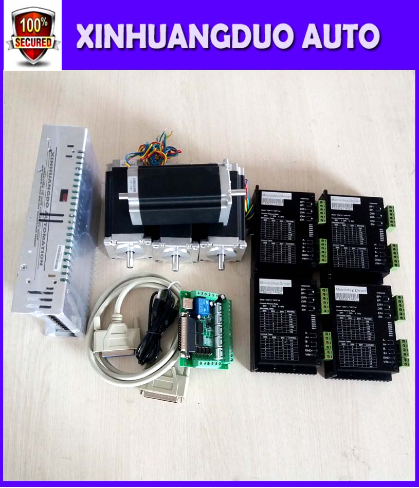 4 Axis CNC kit Nema 23 Stepper Motor(Dual Shaft) 425oz in 3A & Motor Driver 40V 4A &Power supply +one interface board