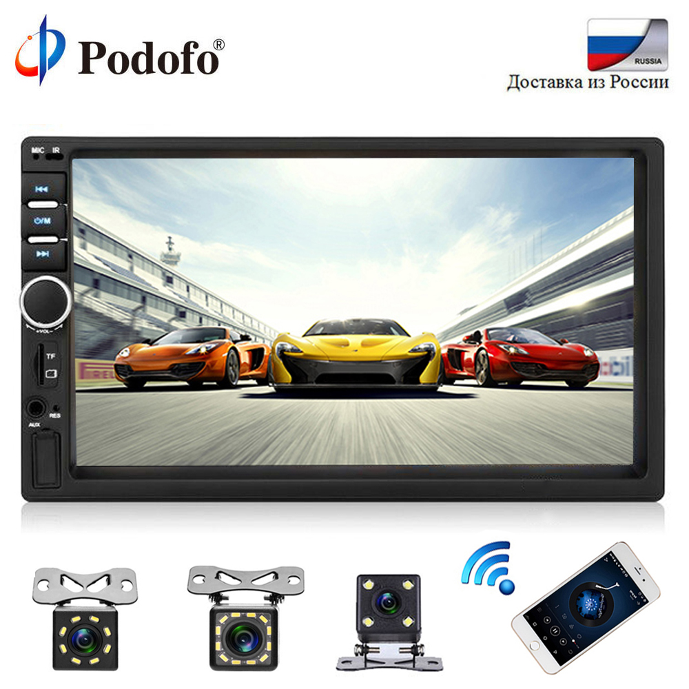 Podofo Autoradio 2 Din Car Radio Bluetooth Stereo 7 HD Car Multimedia Player Touch Screen USB Car Audio With Rear View Camera podofo 2 din car radio 6 6 lcd touch screen car audio 12v auto radio player with bluetooth fm rear view camera autoradio stereo