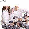 Mujeres Pijamas de Franela Pareja Pijama Para Las Mujeres O Cuello de Manga Larga Engrosamiento de Navidad Blanco Pijama Mujer Plus Tamaño PA1482P