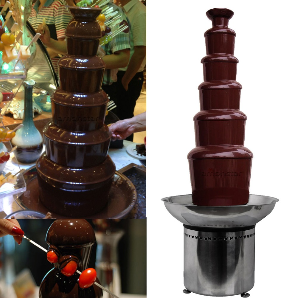 Ship from USA! 	32.3 Commercial 6 Tiers Stainless Party Hotel Large 82cm Chocolate Fountain usa ship