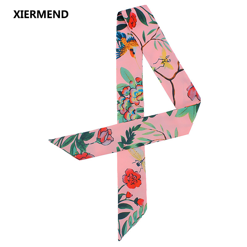 2018 Silk Flower Bird Jungle Pumpkin Scarf Women's Tied Bag Handle Ribbon Hairband Shawl Narrow Long Scarf Head Skinny Scarves