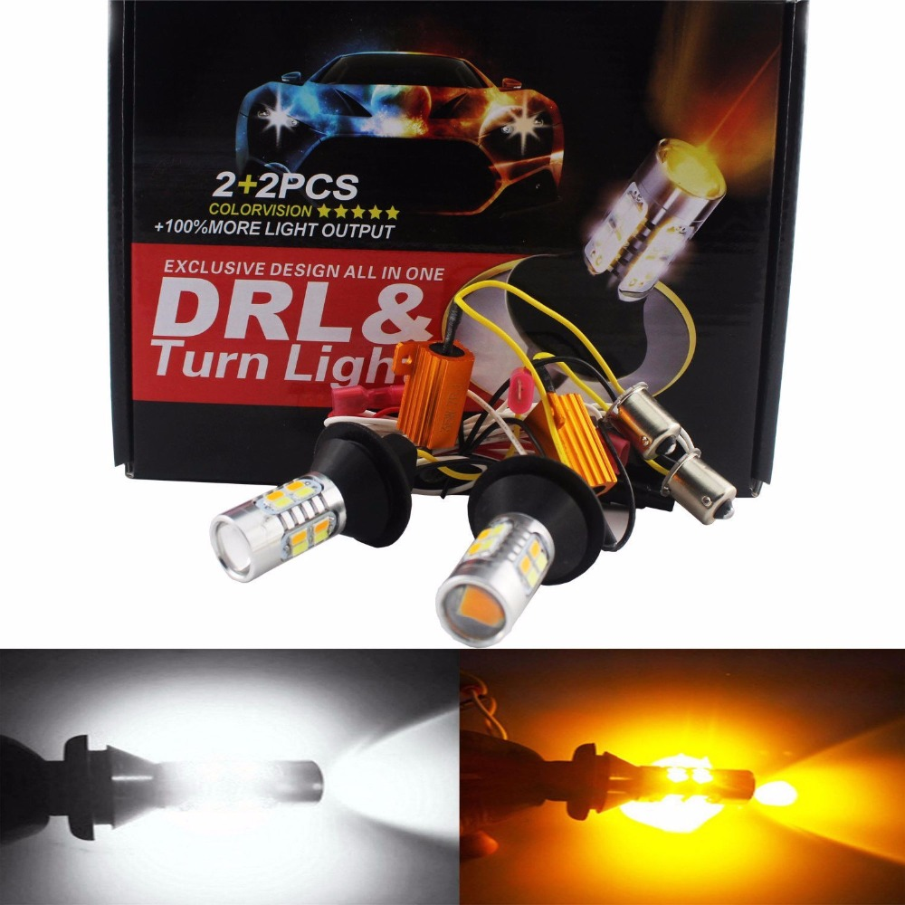 1156 BAU15S PY21W Dual Color White(Ice Blue)/Amber Yellow Switchback LED Turn Signal Light+Error Free Canbus with Resistor DRL