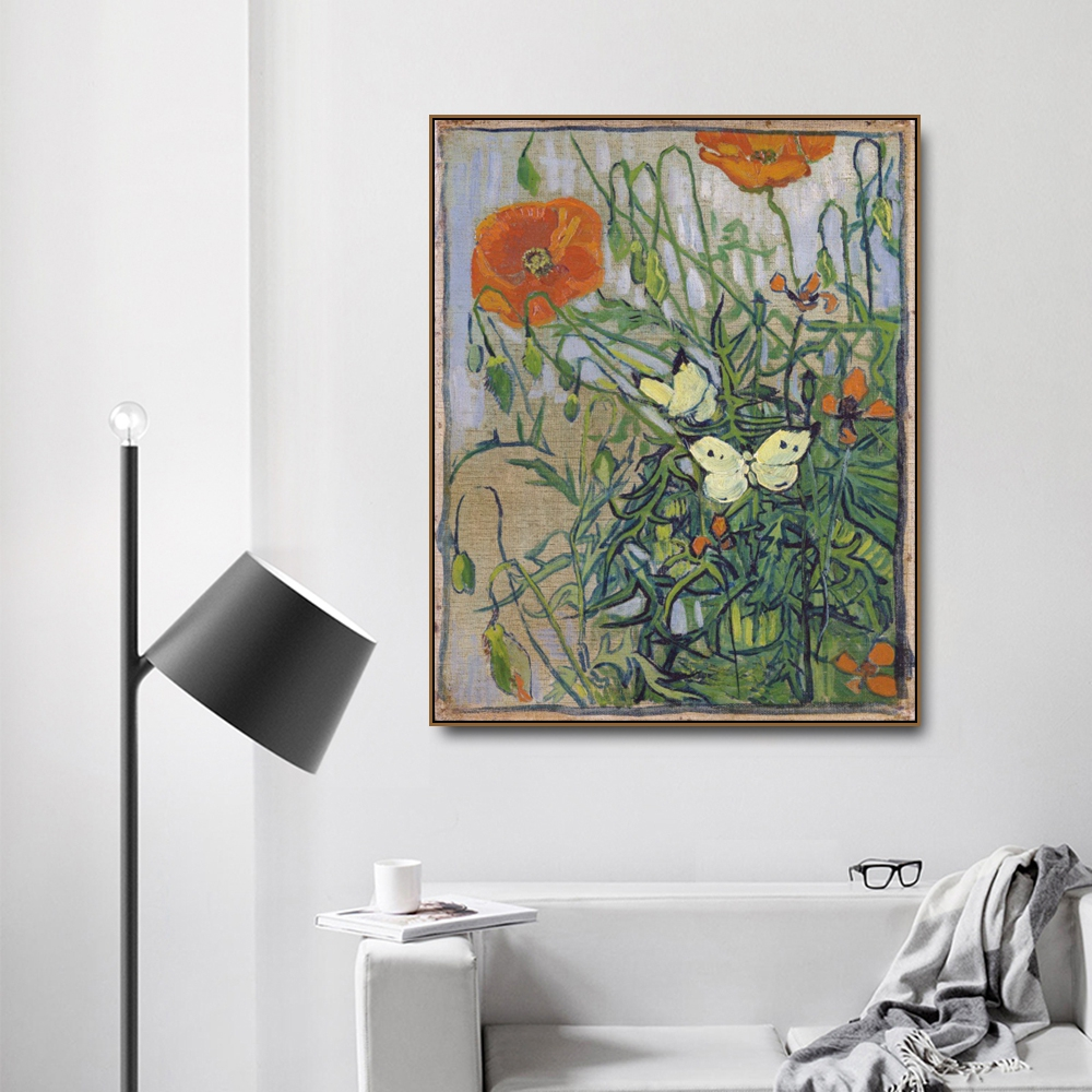 Butterflies and poppies by Von Gogh Poster Print Canvas Painting Calligraphy Home Decor Wall Art Picture for Living Room Bedroom